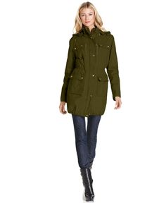 MICHAEL Michael Kors Raincoat, Hooded Utility Anorak - Womens Coats - Macy's