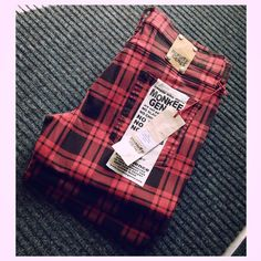 Limited Edition Check Skinnys! Available at monkeegenes.com while stocks last! #check #red #black #skinny #monkeegenes #limitededition