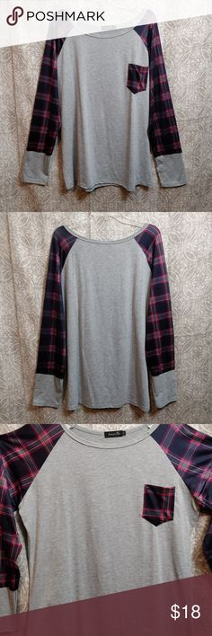 NWOT Long Sleeve Pocket Tee New without tags light gray women's size XL Pretty in Plaid long sleeve pocket tee. This soft, lightweight top will keep you covered and cool at the same time! 35% cotton  65% polyester Amaryllis Tops Tees - Long Sleeve