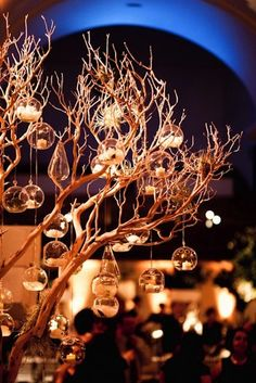 winter wedding decoration - tree with lights in glass bubbles