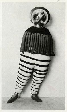 """Costume for the Triadic Ballet from """"The Theater of the Bauhaus"""" macabre surreal costume design for theatre of curiosity at roll up circus Bauhaus, Old Photos, Vintage Photos, Johannes Itten, Ballet Theater, Theatre Costumes, Ballet Costumes, Weird Costumes, Vintage Costumes"""