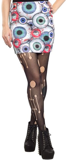 KREEPSVILLE 666  Eyeballs mini skirt features curve hugging fit with lots of stretch and an all over blood shot eyeball print of course! $28.00