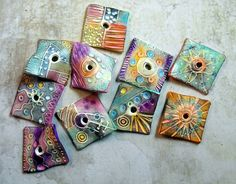 Squares by MargitB. Made from polymer clay.