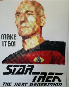 STTNG Captain Jean-Luc Picard perler portrait by sanzosgal (original concept by phoenixgirlcreations)