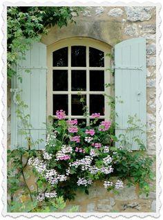 Cottage window box, love the shutters, flowers, window!
