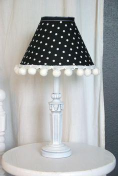 Polka dot table top lamp inspiration pinteres black and white polka dot lamp aloadofball Gallery