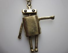 THE AWKWARD ROBOT Necklace A Long Charm by lovespelljewels on Etsy, $10.50