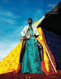 "nice Vogue Holanda Julho 2013 | Kinee Diouf em ""Neon Oase"" por Ishi   [Editorial]"