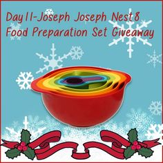 Joseph Joseph's Nest 8  is the ultimate collection of practical, space-saving kitchenware, and it can be yours today in our Advent Calendar Giveaway. The set contains 2 sizes of mixing bowl with non-slip base, small mixing bowl with measurements, large colander and 4 measuring cups.