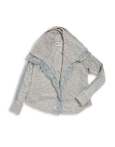 Lucky Brand Girls 7-16 Lace-Trim Open Cardigan  Grey X-Large