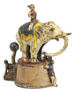 June 22nd Auction. Cast Iron Elephant & 3 Clowns Mechanical Bank. #Banks #MorphyAuctions