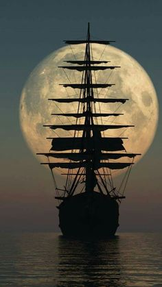 Ship sailing towards the moon