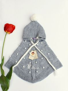 Alpaca wool baby snowflakes poncho with hood baby poncho