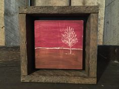 Rustic Framed Art - Engraved Art - Red Sky - Sunset - Office Art - Shelf Art - Primitive Art - Landscape Painting - Cabin Decor - Tree