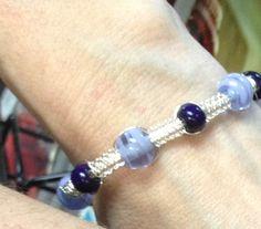 Wire Macrame Glass Bead Bracelet