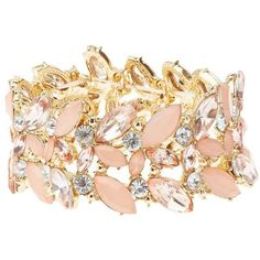 Charlotte Russe Embellished Stretch Cuff Bracelet ($6) ❤ liked on Polyvore featuring jewelry, bracelets, gold, tri color bangles, rhinestone bangles, hinged cuff bracelet, cuff bracelet and tri color jewelry