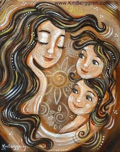 Long brown hair mother with 2 auburn daughters with flower and warm brown tones, archival art print from an original painting - Interwoven Mother Daughter Art, Mother Art, Mother And Child, Monochrome Color, Long Brown Hair, Mom And Baby, Art For Kids, Original Paintings, Creations