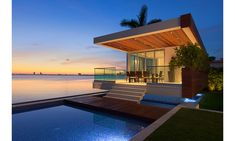 The guest cabana at a $37 million waterfront home in Miami Beach. This property at 5446 North Bay Road is listed by The Jills of Coldwell Banker Residential Real Estate.
