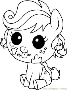 Applejack Infant Coloring Page Free My Little Pony