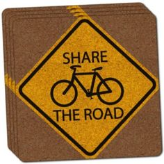 "Custom & Cool {4"" Inches} Set Pack of 4 Square ""Grip Texture"" Drink Cup Coaster Made of Cork w/ Cork Bottom & Share The Road Bicycle Safety Road Street Sign Design [Yellow, Black & Brown Colors]"