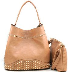 """Made of high quality leather-like material  - Magnetic snap closure  - Gold tone hardware  - Pointy cone studs and non-pointy cone studs  - Inside main bag has suede lining  - Single carrying strap with 11"""" drop length  - Includes bonus detachable/adjustable strap, 48 inches end to end  - Approx.  Dimension: 12"""" W x 12"""" H x 6"""" D    - Bonus Bag Approx. Dimensions: 11""""W x 9""""H x 1""""D  - Interior includes inside zippered pocket & cell phone pouch"""