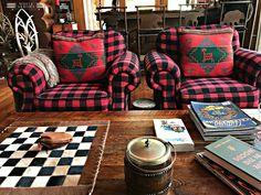 Buffalo plaid added into your decor is trendy right now, but timeless for cabin, cottage and rustic decor when used for a statement piece or in layers. Plaid Living Room, Knotty Pine Walls, White Shiplap Wall, Plaid Decor, Building For Kids, Red And Black Plaid, The Ranch, Buffalo Plaid, Back Home
