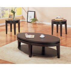 Cappuccino Oval Cocktail Table   Overstock.com Shopping - Great Deals on Coffee, Sofa & End Tables