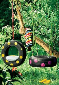 Old Tires as Decoration | Design & DIY Magazine. Click on the picture and see and all the cool decorations of the tire swings.