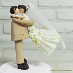 Cute lovely couple wedding cake topper gift by annacrafts on Etsy, $150.00    Cute cute cute