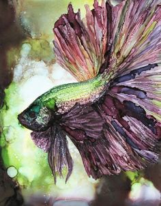 Emerald Betta Fish, Alcohol Ink PRINT Printed on Moab Exhibition Luster Satin Fine Art paper. Alcohol Ink Glass, Alcohol Ink Crafts, Alcohol Ink Painting, Alcohol Ink Tiles, Doodle Drawing, Drawing Faces, Watercolor Paintings, Ink Paintings, Watercolors