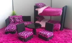 homemade barbie house | New Bunkbeds for Barbie or Monster High Dolls - Complete Suite Set ...