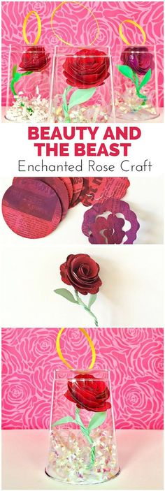 Beauty and the Beast Enchanted Rose Craft. Make this beautiful paper roses and flowers out of newspaper! Kids will love painting this flower art project. Group Art Projects, Paper Art Projects, Art Projects For Teens, Paper Crafts For Kids, Crafts For Teens, Art For Kids, Diy Paper, Craft Projects, Beauty And The Beast Crafts