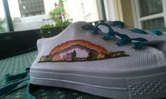 Cross stitched shoes for the creative youth #crossstitch #nice #shoes #rainbow #cross #stitch #embroidery #colorful