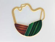 Modernist Trifari Necklace jewelry, Green Brown enamel, Large Vintage Runway Gold tone, Snap closure