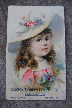 Antique 1800s Advertising Trade Card ~ Quincy Confectionery Quincy Illinois