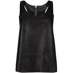 AllSaints Dash Leather Tank ($235) ❤ liked on Polyvore featuring tops, shirts, tanks, tank tops, blusas, black, racerback top, panel shirt, zipper shirt and leather tank