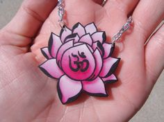 Pink Lotus with Ohm Necklace by HeartSizedCrush on Etsy, $7.99