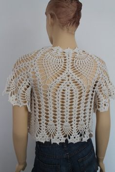 Crochet  Off White Bridal Shrug Bolero / Fall  Spring Fashion. $99.00, via Etsy.