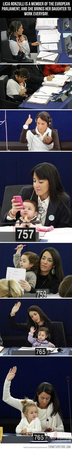 """""""We push women to study, to get a great job then at some point they have to choose between a family or a career. Women shouldnt have to choose"""" Licia Ronzulli often brings her daughter at the European Parliament as a symbolic gesture to reclaim more rights for women in reconciling work and family life. This woman is amazing"""