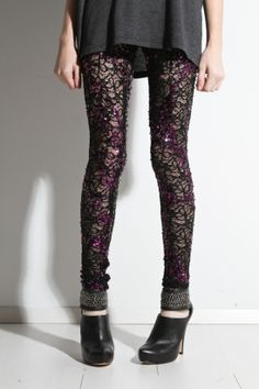 black, purple, lace leggings. Now if only I could find some that weren't almost $100...
