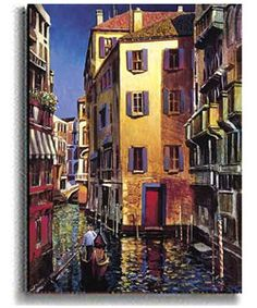 Add contemporary design to your home or office decor Canvas art titled Portofino Colors Capturing the transitioning light of Venice, Michael O'Toole colorfully interprets one of the great cities in the world