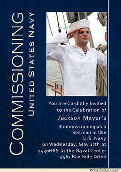 For one young man's U.S. Naval Academy graduation, we created a masculine invitation in navy blue & white, accenting his optional photo.