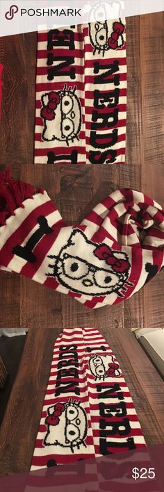 Hello kitty nerd scarf Cute hello kitty nerd scarf in red and white strip. If you're a Hello kitty fan this is an must item even when it's not winter. Hello Kitty Accessories Scarves & Wraps