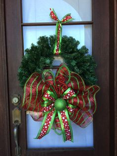 Christmas holiday wreath ~ Red and lime green deco mesh by AnnesAdoorables on Etsy