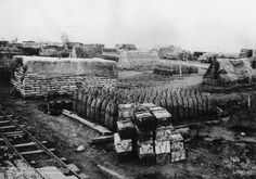 """Captured Munitions (March 1918). Enormous amounts of munitions were used during the First World War. This photograph shows British munitions captured by German soldiers near Abigny in France during the initial phases of the """"Ludendorff Offensive"""" in the spring of 1918; it was the last large-scale offensive by German troops."""