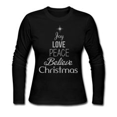 Joy Love Peace Believe Christmas - Women's Silver GLITTER Tree shirt - Women's Long Sleeve Jersey T-Shirt