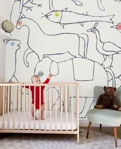 Playfull Style Interior Decoration Children's Room & Nursery  - Minakani Wallpaper Animals -  Design by Cécile Figuette & Frédéric Bonnin - Pastel Color Kids Room Paradise of Animals!