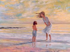 """""""Mother and Child at the Beach"""" - Mother and  Child enjoy a windy sunset at the Naples Beach by Jeff Fessenden"""