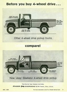It's gorgeous! Read these 4 inspiring ideas all in regards to Antique Trucks, Vintage Trucks, Old Trucks, Vintage Ads, Jeep Pickup, Jeep Truck, Pickup Trucks, Station Wagon, Jeep Willis