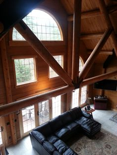 View of the great room from the loft. Next At Home, Sitting Area, Log Homes, Great Rooms, Loft, House Design, Couch, Inspiration, Furniture